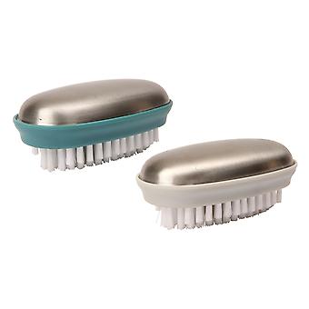 Dexam Set of 2 Stainless Steel Nail Brushes