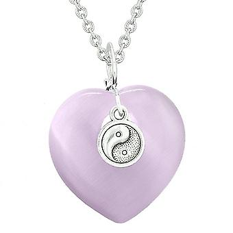 Yin Yang Balance Powers Puffy Magic Heart Amulet Purple Simulated Cats Eye Pendant 18 inch Necklace