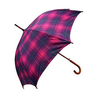 Tweed Check Print Cerise Straight Umbrella