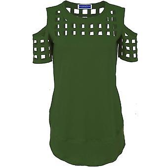 Las señoras hombro frío láser cortar jaula alta baja Textured camiseta Top blusa