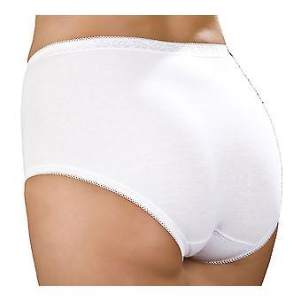 Ladies Combed Cotton & Lace Full Maxi Stretch Brief Pantie Knicker Underwear 3Pk - White - 22