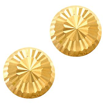 14k or brillant diamant taillé rond Stud Earrings, 10mm