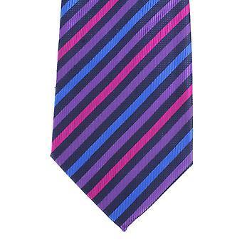 Knightsbridge Neckwear diagonale Multi stripete silke slips - lilla/blå/Fuchsia