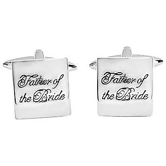 Zennor Father of the Bride Text Cufflinks - Silver/Black