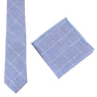 Knightsbridge cravatte cotone cravatta e fazzoletto da taschino Set - blu chiaro