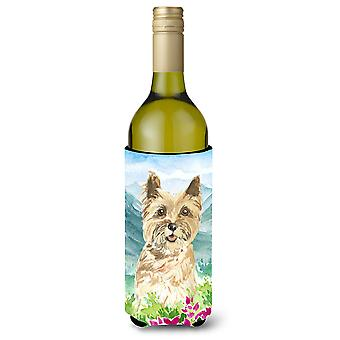 Mountain Flowers Cairn Terrier Wine Bottle Beverage Insulator Hugger