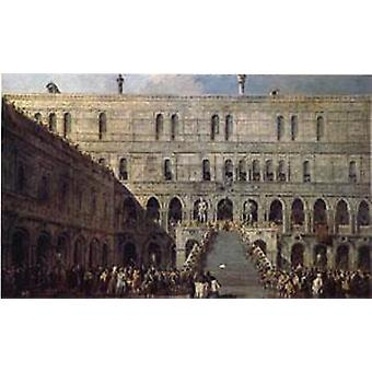The Coronation of the Doge on the Staircase,Francesco Guardi,60x40cm