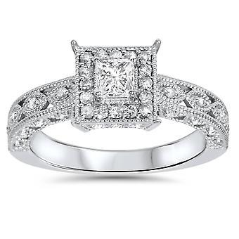 5/8ct Princess Cut Vintage Halo Diamond Engagement Ring 14K White Gold