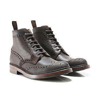 Loake Waxed Leather Bedale Brogue Boots