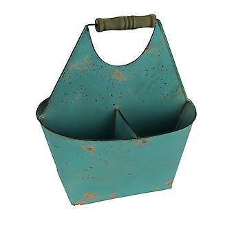 Rusty Blue Metal 3 Compartment Divided Storage Caddy