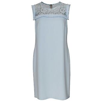 Marie Mero Blue Lace Detail Sleeveless Shift Dress