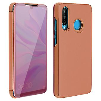 Flip Case, Mirror Case for Huawei P30 Lite, Standing Cover - Rose gold