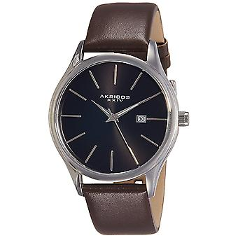 Akribos XXIV Classic Men es Sunray Dial Genuine Leder Strap Watch AK618BR
