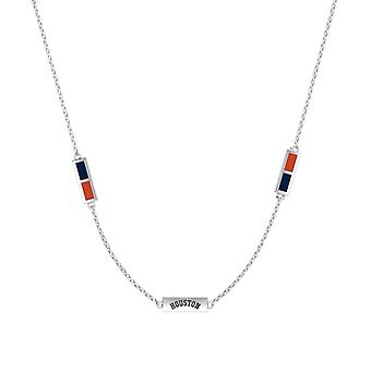 Houston Astros Sterling Silver Engraved Triple Station In Necklace Blue and Orange