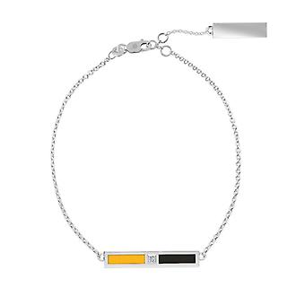 Kennesaw State University Sterling Silver Diamond Bar Chain Bracelet In Yellow & Black