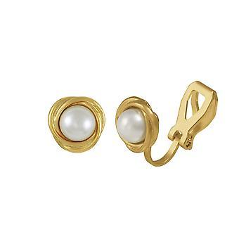 Wieczne kolekcji Richmond Faux ton złota perła stadniny klipsy