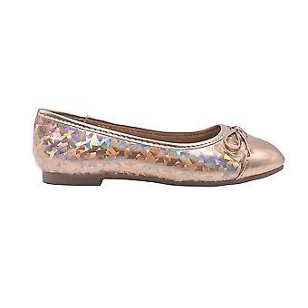 bebe Girls Ballet Flats Little Kid Holographic Glitter Slip On Ballerina Shoes With Bow