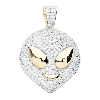 Premium Bling - 925 sterling silver ALIEN pendant gold