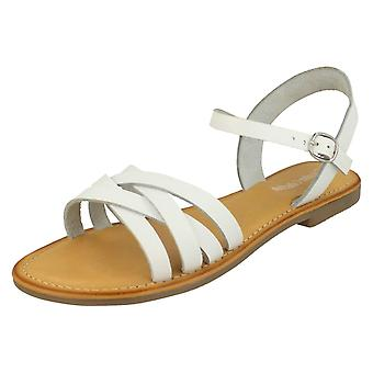 Ladies Leather Collection Flat Strappy Sandals F00196