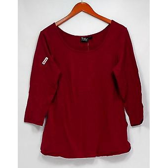 Women with Control Top 3/4 Sleeve Stretch Knit Scoop Neck Rasberry Red A298652