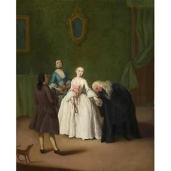 Um nobre que beija uma mão da Senhora-s, Pietro Longhi, 50x40cm