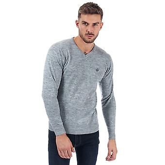 Mens Duck And Cover Bowyer V Neck Knit In Grey Marl- Long Sleeve- V-Neck- Ribbed