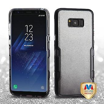 MYBAT Metallic Black/Transparent Smoke Gradient Silver Full Glitter TUFF Panoview Hybrid Case for Galaxy S8 Plus
