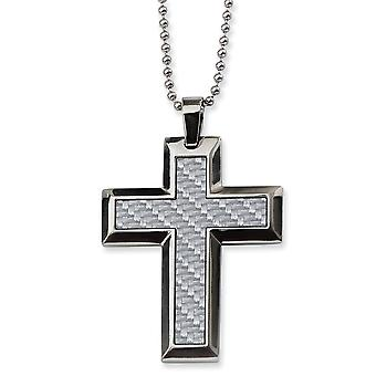 Stainless Steel Polished Fancy Lobster Closure Grey Carbon Fiber Cross Necklace  24 Inch Jewelry Gifts for Women