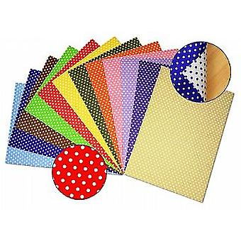 12Assorted A4 Polka Dot Two-Sided Card Sheets | Coloured Card for Crafts