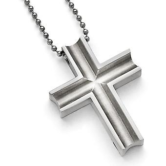 Titanium Polished Religious Faith Cross Necklace 24 Inch Jewelry Gifts for Women