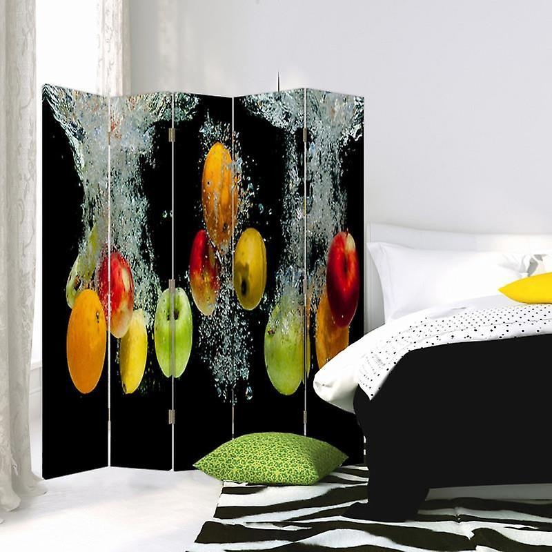 Diviseur de chambre, 5 panneaux, double-sided, rotatable 360, toile, pommes dans l'eau
