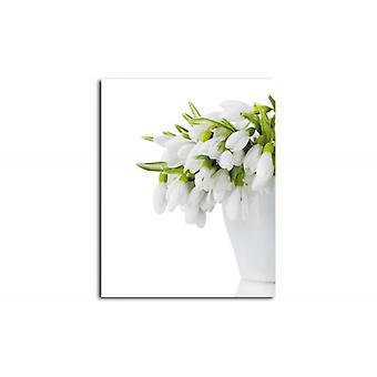 Lienzo, Imagen sobre lienzo, Flores en un jarrón blanco