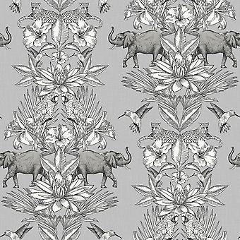 Colonial Elephant Jungle Wallpaper Rasch