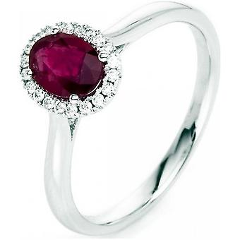 Gemstone Ring Diamonds 0.1ct. Ruby 0.93 ct. Size 54