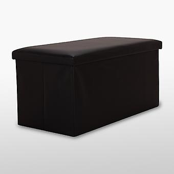 Faux Leather Ottoman - Black - Medium