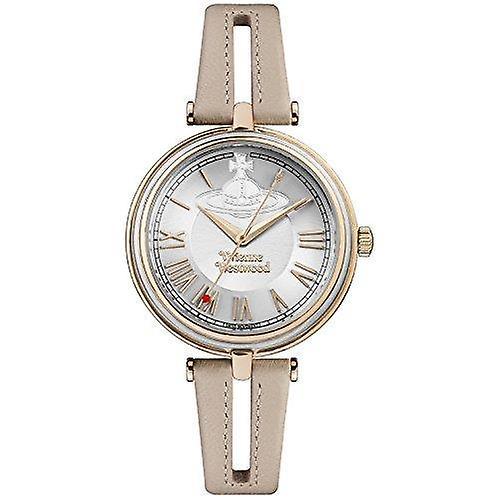 Vivienne Westwood Farringdon Quartz Brown Leather Strap Gold PVD Case Ladies Watch VV168SLPK