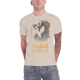 Janis Joplin T Shirt Working The Mic Distressed Logo new Official Mens Sand