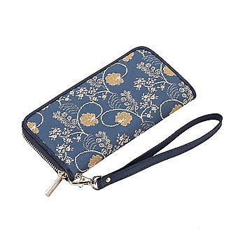 Jane austen blue long zip rfid money purse by signare tapestry / lzip-aust