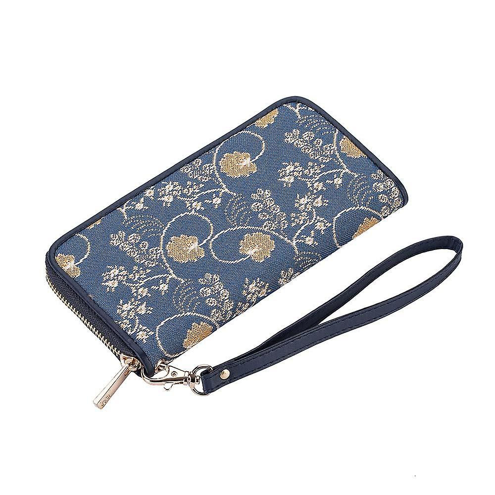 Jane austen blue long zip rfid money purse by signare tapestry / lzip-aust