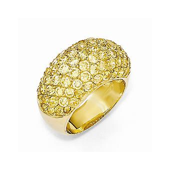 Cheryl M 925 Sterling Silver 14k Gold Plated Yellow CZ Cubic Zirconia Simulated Diamond Ring Jewelry Gifts for Women - R