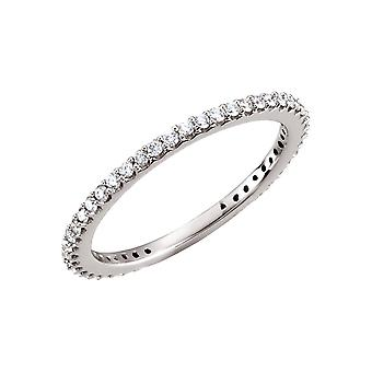 14k White Gold Polished 0.33 Dwt Diamond Band Ring Jewelry Gifts for Women - Ring Size: 5 to 7