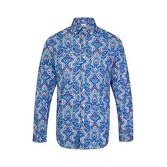 JSS Paisley Blue Regular Fit 100% Cotton Shirt