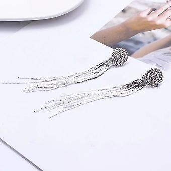 Crystal Studs Long Chains Drop Earrings - silver