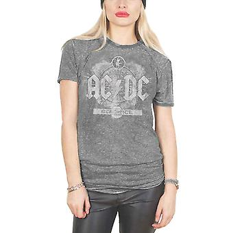 AC/DC T Shirt Black Ice Band Logo Official Womens New Grey Skinny Fit Burn Out