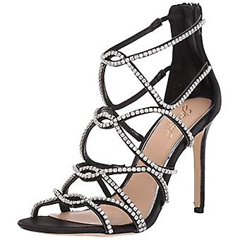 Jewel Badgley Mischka Women-apos;s DELANCEY Sandal, satin noir, 6 M US
