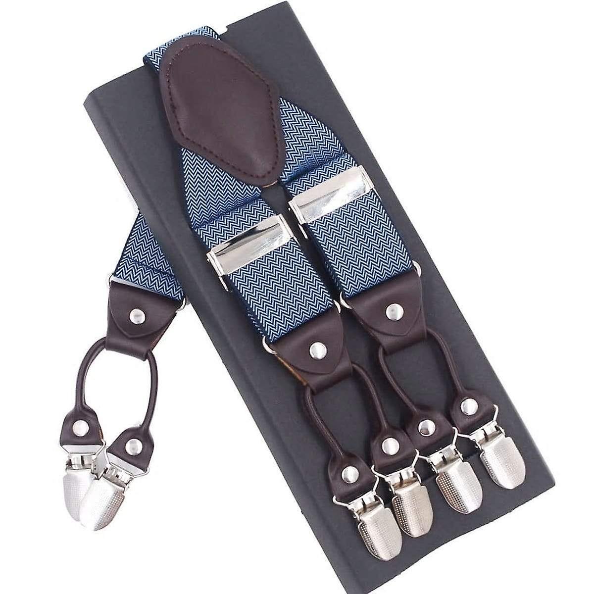 Blue & white zig zag pattern men's adjustable braces
