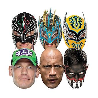 WWE Wrestlers Official 2D Card Party Fancy Dress Masks Variety 6 Pack