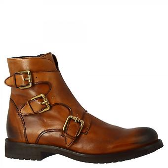 Men's handmade ankle boots in tan goat leather with buckles and side zip
