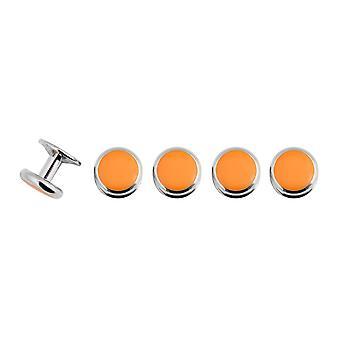 ドレス シャツ ・ ドベル メンズ オレンジのスタッド セット