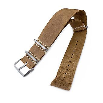 Strapcode n.a.t.o watch strap 20mm or 22mm miltat g10 grezzo nato watch strap, camel brown distressed calf leather extra soft, sandblasted